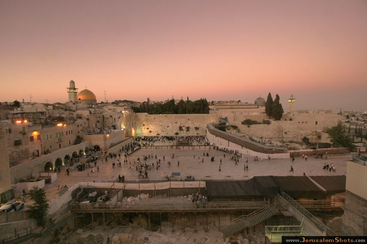 Wailing Wall at sunset