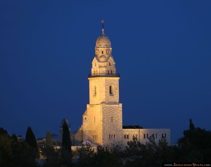 Dormition Abbey at night