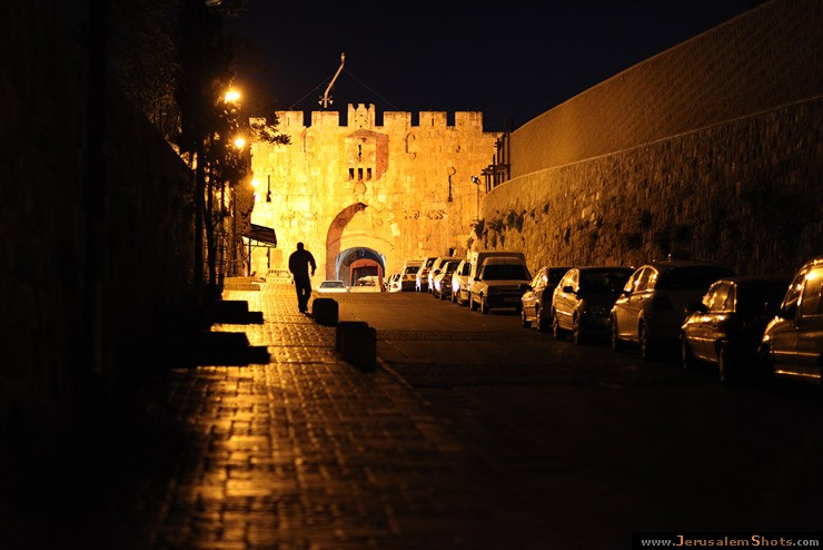 Lion's Gate of the Old City at night