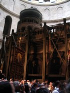 Edicule with structural supports from earthquake damage-Holy Sepulcher